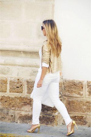 gold vintage jacket - white Sfera jeans - gold Zara heels