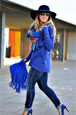 blue Promod sweater - navy Sfera jeans - blue BLANCO heels