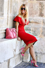 Red-zara-dress-bubble-gum-topshop-heels
