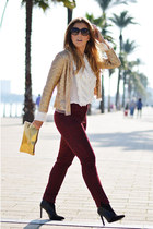 ivory Zara shirt - gold vintage jacket - ruby red BLANCO pants