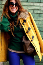 mustard H&M coat - blue H&M jeans - forest green Mango sweater