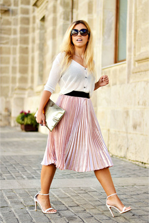 white zaful sweater - light pink shein skirt - white Zara heels
