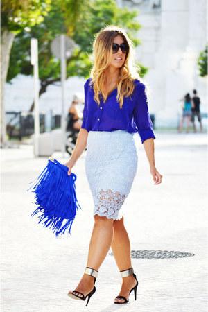 blue vintage shirt - black Zara heels