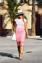 pink DIY skirt - white Zara bag - black Zara heels