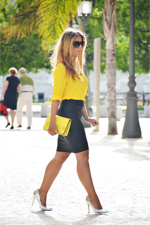 yellow Primark shirt - yellow Zara bag - black Forever 21 skirt