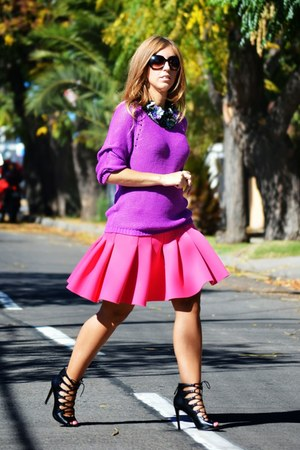 purple H&M sweater - hot pink H&M skirt - black Zara heels - purple H&M necklace