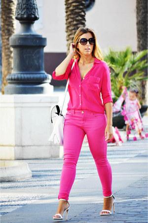 hot pink Easywear jeans - hot pink Easywear shirt - white Zara bag