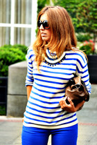 blue H&M jeans - blue H&M sweater - brown Misako bag - blue pivadiva necklace