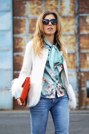 white shein blazer - sky blue shein shirt
