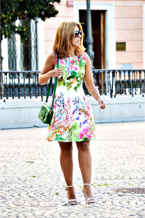 hot pink Zara dress - green vintage bag - white Zara heels