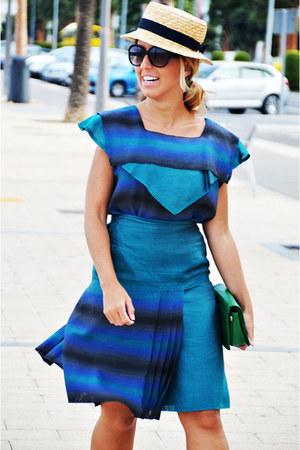 turquoise blue vintage shirt - navy vintage skirt