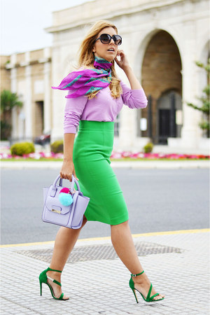 light purple asos bag - green Zara skirt