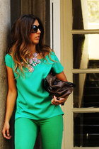 green H&M jeans - green suiteblanco blouse - peach sammydress necklace