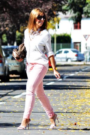 white Zara heels - light pink Zara jeans - camel Misako bag - white Mango blouse