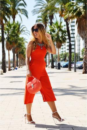 carrot orange Zara necklace - carrot orange BLANCO bodysuit - white Zara heels