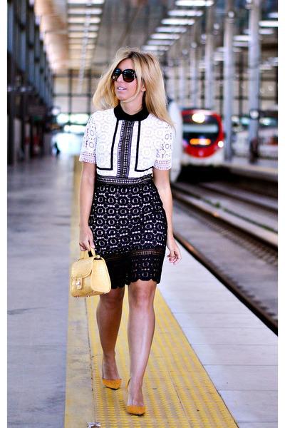 black zaful dress - mustard Zara bag - mustard Mango heels