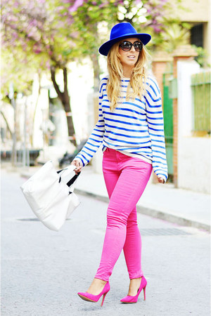 blue BLANCO hat - blue H&M sweater - hot pink Marypaz heels