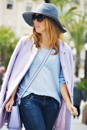 navy H&M jeans - light blue Mango sweater - violet asos bag