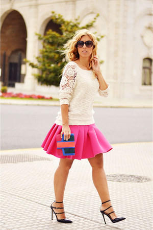 cream BLANCO sweater - hot pink H&M skirt