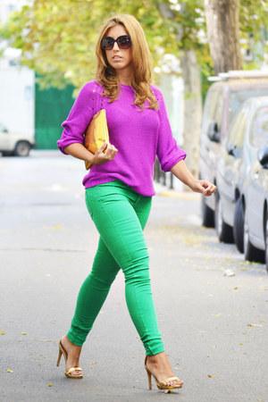 green H&M jeans - deep purple H&M sweater - gold Zara heels