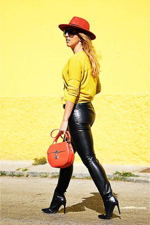 yellow Promod sweater - black Zara boots - carrot orange Promod hat