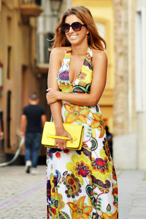 hot pink dress - yellow Zara bag