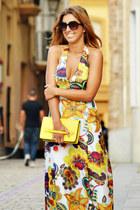 hot pink dress - yellow Zara bag