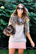 beige H&M sweater - light pink Zara skirt