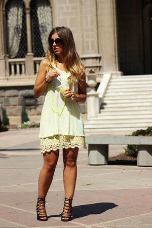 light yellow Zara shirt - light yellow Zara skirt - yellow H&M necklace