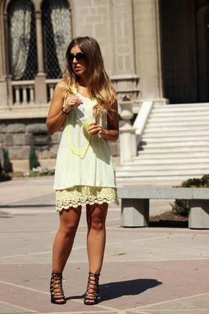 light yellow Zara shirt - light yellow Zara skirt - yellow H&M necklace
