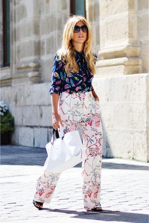 white Zara bag - navy okeysi shirt - bubble gum Zara pants