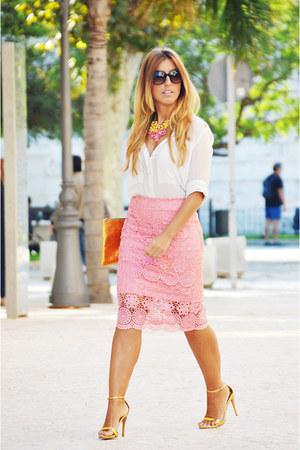 gold Zara heels - white Mango shirt - bubble gum DIY skirt