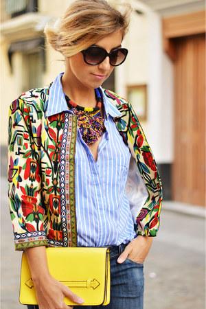 yellow Zara bag - red shein jacket - turquoise blue Sfera shirt