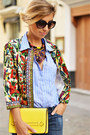 Red-shein-jacket-turquoise-blue-sfera-shirt-yellow-zara-bag