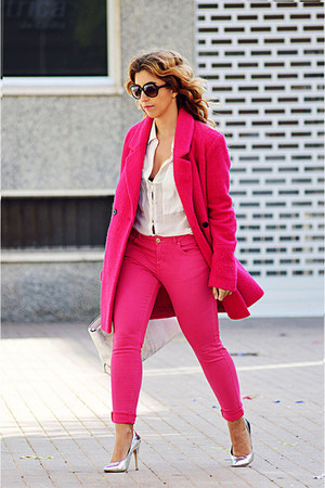 hot pink Only coat - hot pink Easy Wear jeans - cream Zara bag