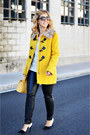 Yellow-h-m-coat-black-zara-pants