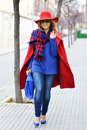 red BLANCO hat - red Mango coat - navy Sfera jeans - blue Promod sweater