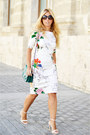 White-zara-dress-dark-green-parfois-bag-cream-zara-heels