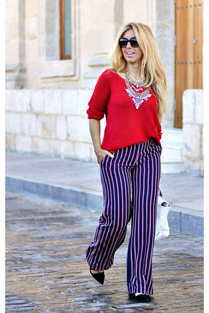 white Zara bag - red Sfera sweater - navy el corte ingles pants