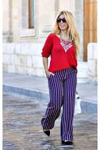white Zara bag - red Sfera sweater - navy el corte ingles pants