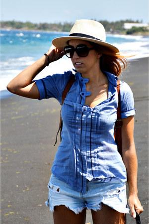 sky blue Stradivarius shirt - light blue foster jeans shorts