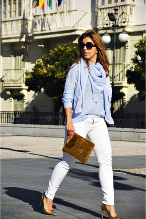 light blue Mango sweater - white Sfera jeans - light blue Primark scarf
