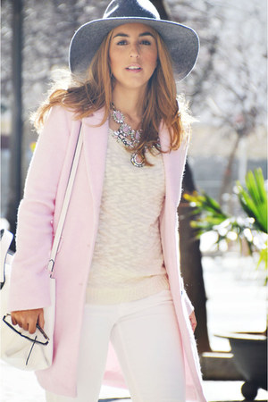 light pink Bershka coat - white Sfera jeans - white suiteblanco sweater
