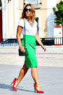 Green-vintage-bag-green-zara-skirt-red-dressale-heels-white-h-m-t-shirt