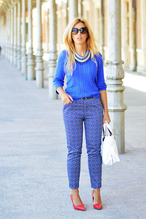 blue H&M sweater - white Zara bag - blue Sfera pants - red Zara heels