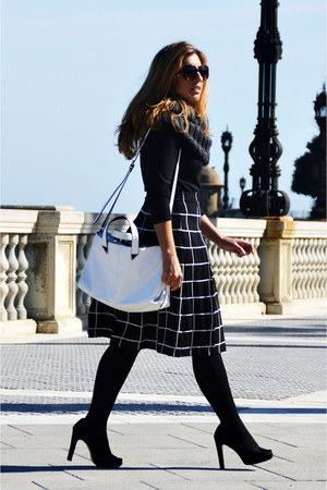black Lefties sweater - white Zara bag - black Promod skirt