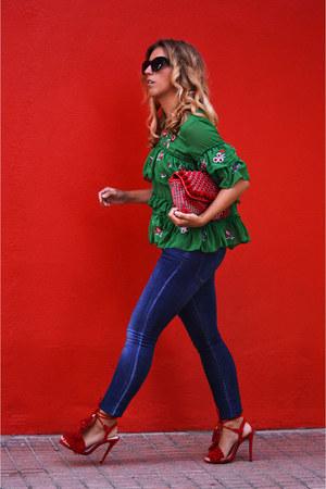 green shein shirt - red Zara bag