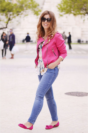 blue Levis jeans - hot pink zaful jacket