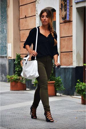 black vintage shirt - olive green Sfera jeans - white Zara bag