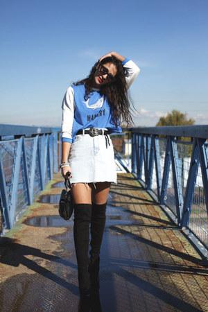 Marypaz boots - romwe sweater - asos sunglasses - pull&bear skirt